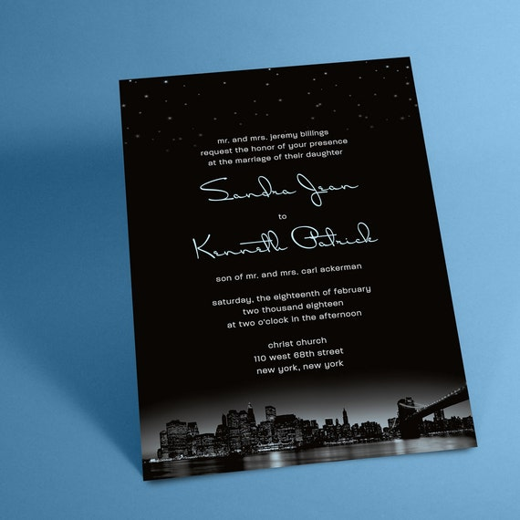 Personalized Skyline Wedding Invitations: New York City Skyline Wedding Invitations With Night Stars