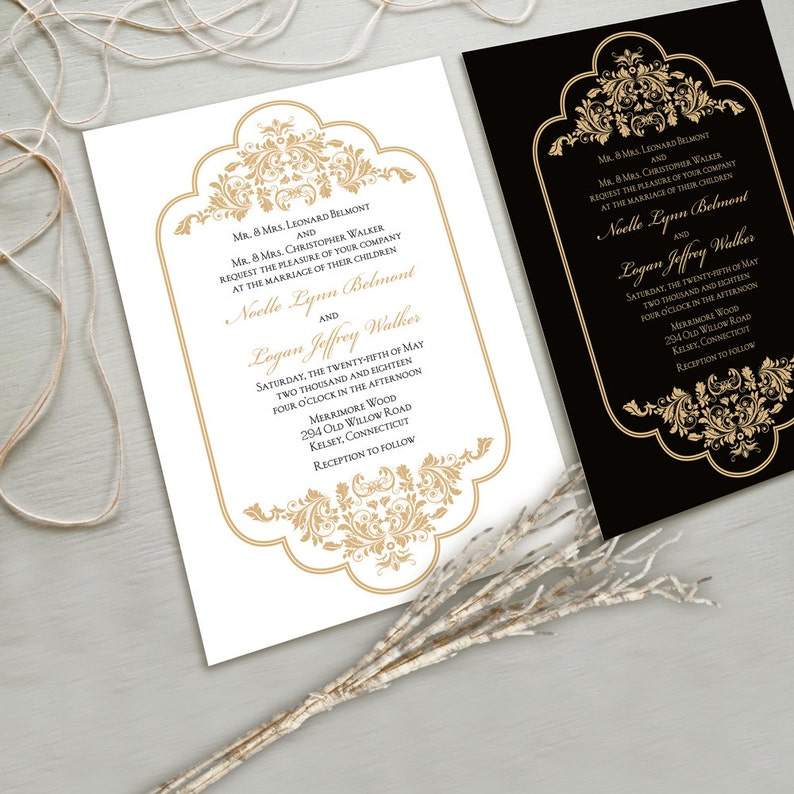 Fancy Wedding Invitations.Timeless And Elegant Wedding Invitation Suite White And Gold Black And Gold Other Color Combinations Possible