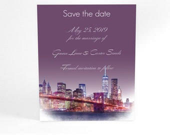 Penthouse Dreams, New York Manhattan wedding stationery save the dates from watercolor, modern typography, custom wording and colors, ombre