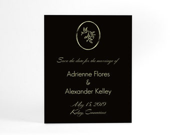 Wedding Save the Date cards, simple, elegant design with bird, leaf in circle. Postcard available, personalized text & color, printable 4x5