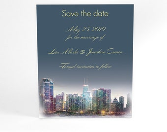 Penthouse Dreams, Chicago skyline stylish wedding stationery save the date from watercolor, modern typography, custom wording, colors, ombre