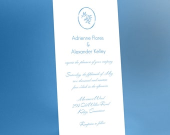 Wedding Invitation Suite, simple, modern and elegant, customizable color & wording, printable / printed wedding invites, chic, romantic, 4x9