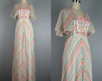 1970s vintage pastel striped maxi dress with flutter sleeve and empire waist S