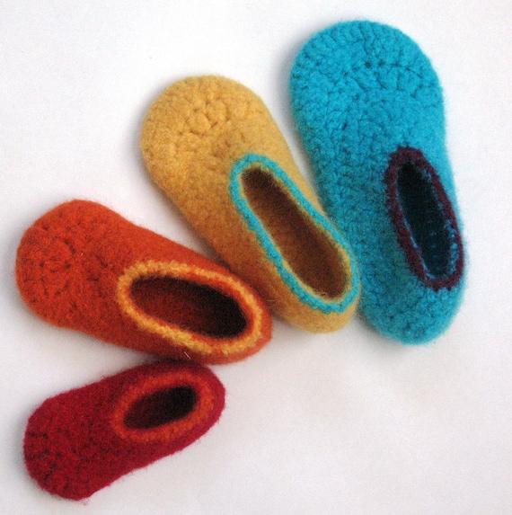 Felt Kids Slippers Crochet Pattern No 7 Etsy