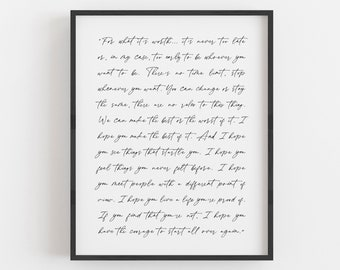 Custom Quote Print, Custom Poem, Wedding Vows, Song Lyrics, Personalized Anniversary Gift, Wall Decor, Print or Canvas