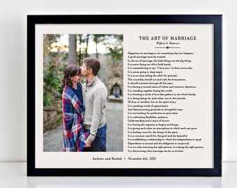 The Art of Marriage, Marriage Gift, Art of Marriage Poem, Paper Anniversary Gift, Wedding Gift , Photo Gift for Couple, Bedroom Decor