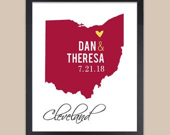 Ohio Map Print, Personalized Wedding Gift for Couple, Ohio Wedding, Bridal Shower Gift, Cleveland ANY State or City