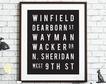 Custom Subway Art Print Travel Poster Street Names Favorite