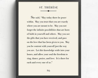 St. Therese Quote Print, Literary Print, St Therese Art Print, Book Page Art, Inspirational Quote Poster, Home Decor  UNFRAMED