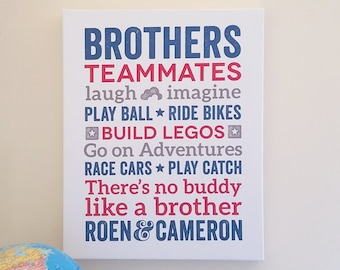 Brothers Wall Art Boys Room Decor Brother Wall Art Brother ...