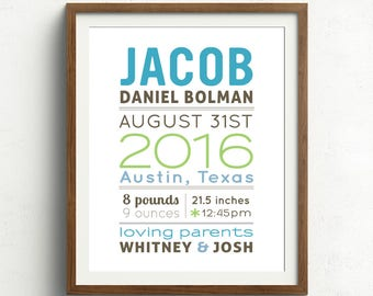 Personalized baby gift new baby gift custom birth print personalized baby name print baby nursery wall art baby name and birth stats blue green new baby gift negle Image collections