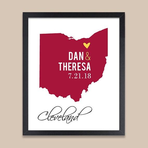 Brilliant Ohio Map.Ohio Map Print Personalized Wedding Gift For Couple Ohio Etsy