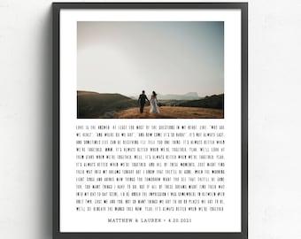 Custom Song Lyrics with Wedding Photo, Paper Anniversary Gift, One Year Anniversary, 1st Anniversary Gift , Rustic Wedding Bedroom Decor