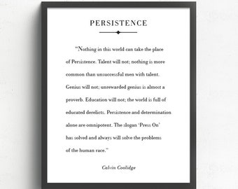 Persistence Quote, Calvin Coolidge Quote, Press On, Inspirational Motivational Quote, Book Page Art Print, Encouraging Words, Office Decor