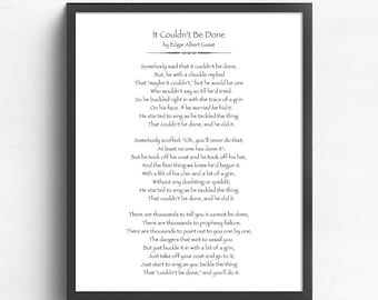 It Couldn't Be Done Poem by Edgar Albert Guest, Motivational Quote, Poetry Art Print, Literary Gifts, Graduation Gift, Office Decor