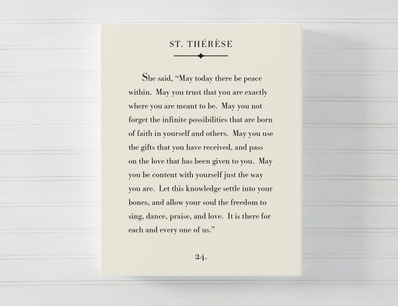 Inspirational Quote Typography Wall Art 8x10 inch Unframed Book Page Art Print Literary Art Print St Therese Quote Print May Today There Be Peace