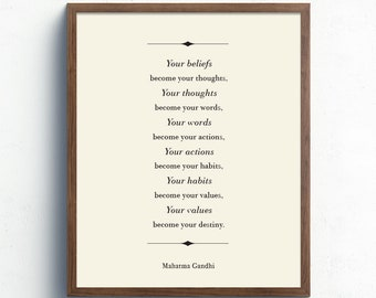 Become Your Destiny, Mahatma Gandhi Quote, Your Beliefs Become Your Thoughts, Inspirational Print, Life Quote, Office Wall Art, Home Decor