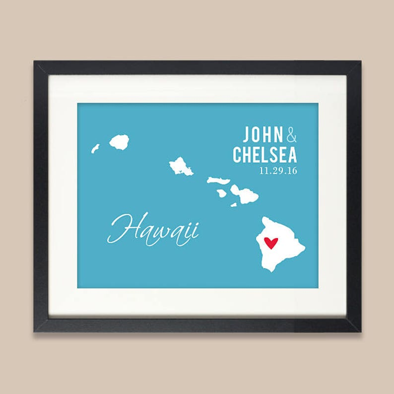 image 0  sc 1 st  Etsy & Personalized Hawaii Wedding Gift Hawaii Map Print Wedding | Etsy