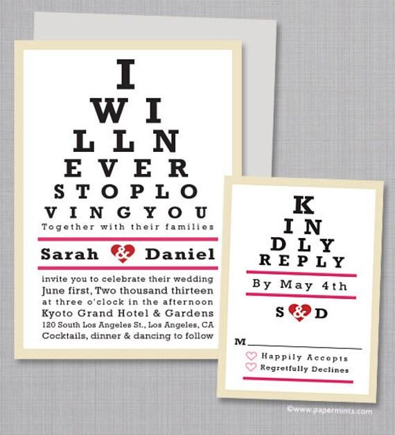 Unique Wedding Invitation Eye Chart Wedding Invitation Set Etsy