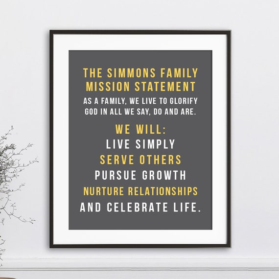 Family Mission Statement Personalized Family Rules Wall Art | Etsy