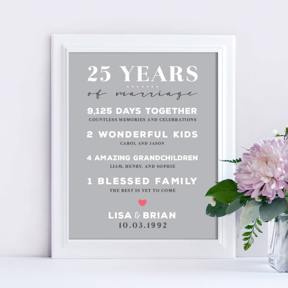 25th Wedding Anniversary Gifts.25th Wedding Anniversary Gift 25 Year Anniversary Gift Wedding Anniversary Gift For Wife Or Husband Personalized Anniversary