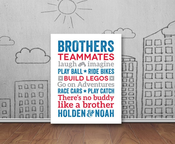 Brothers Wall Art Boys Room Decor Brother Wall Art Brother | Etsy