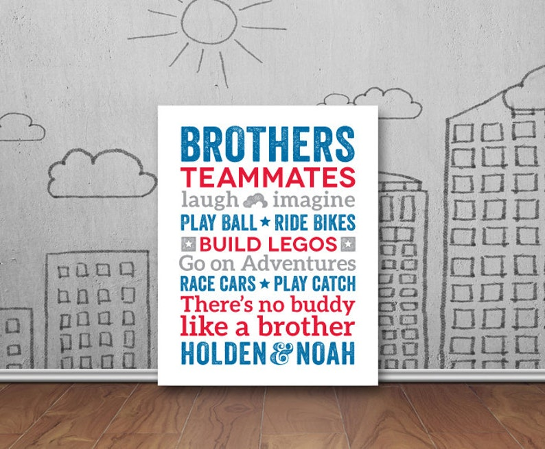 Brothers Wall Art Boys Room Decor Brother Wall Art Brother Etsy