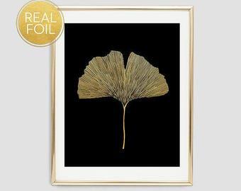 Gold Foil Ginkgo Leaf Wall Art, Botanical Leaf, Real Gold Foil Print, Ginkgo Leaf Print, Minimalist Wall Art, Modern Decor F12