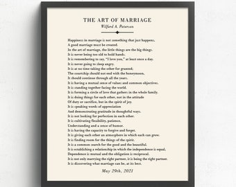 The Art of Marriage Poem, Marriage Quotes, Paper Anniversary Gift, Wedding Gift for Couple, Bedroom Decor, Wedding Poem
