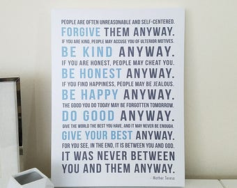 Mother Teresa Quote CANVAS Wall Decor, Mother Teresa Do It Anyway, Forgive them Anyway, Home Decor, Inspirational Subway Sign