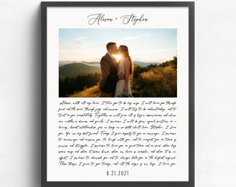 Custom Song Lyrics or Wedding Vows with Photo, Paper Anniversary Gift, Marriage Vows, 1st Anniversary Gift, Gift for Husband, Gift for Wife