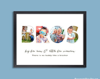 Personalized Brother Wall Art, Big Brother Little Brother, Brother Quote, Boy Room Decor, PHOTO PRINT