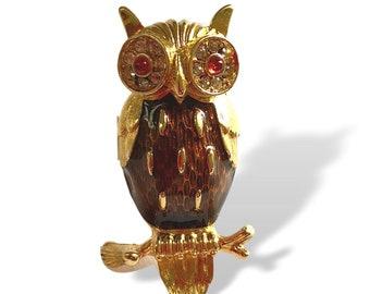 Trifari OWL Pin Brooch Lapel Enamel Rhinestone Small and Sweet