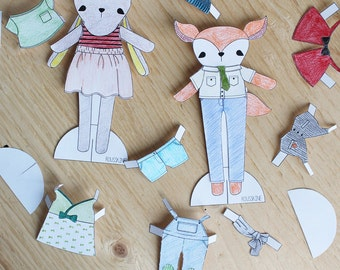 printable fox and bunny paper doll to color