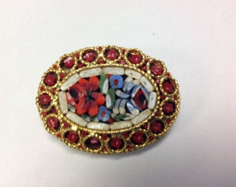 Red Mosaic Pin Brooch