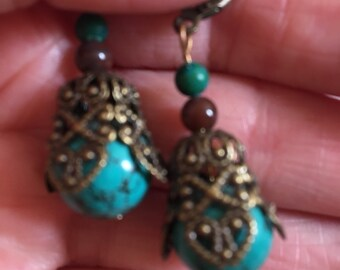 Pretty Hand Made TurquoiseMagesite and fancy Jasper Dangle Earrings Brass Colored