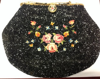 Lovely Vintage Black Beaded Embroidered Enameled Clutch Purse