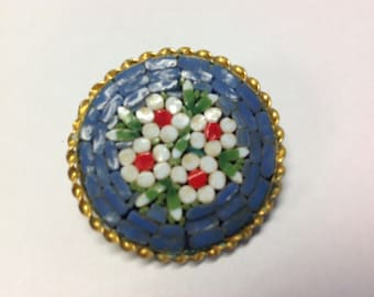 Blue Mosaic Brooch Pin