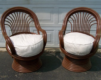 Charmant Pair Vintage Chairs, Vintage Rattan Bamboo Swivel Chairs,porch Chairs,Pod  Stick Bentwood Lounge Chairs,Boho Chic Bohemian,Mid Century Modern