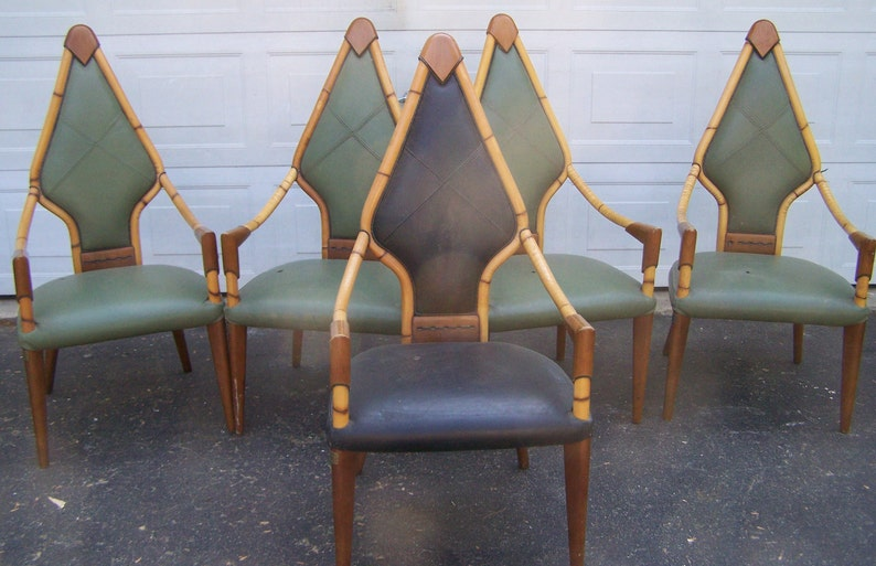Miraculous Art Deco Dining Chairsset Of Five Deco Style Chairs Leather Arm Chairs Dining Chairs Accent Chairs Bamboo Chairs Vintage Chairs Project Machost Co Dining Chair Design Ideas Machostcouk