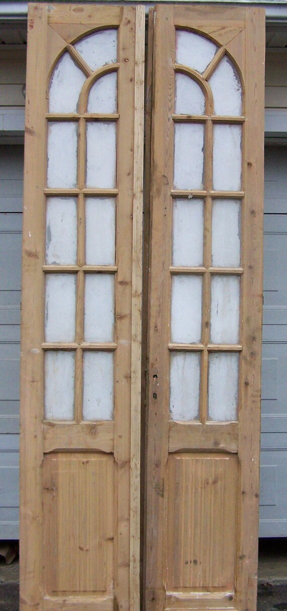 image 0 - Antique Wood Doorscurved Glass Panelsmediterranean Salvage Etsy