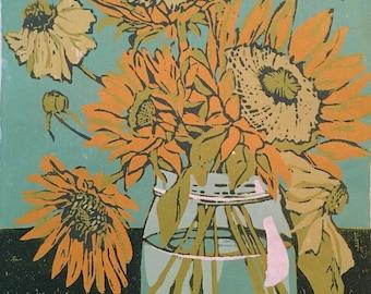 Sunflower Blooms, original woodblock print
