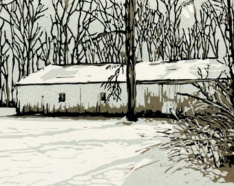 Winter Barn, original linocut print