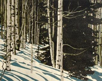 Aspen Shadows, original linocut print