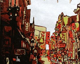 Red Lanterns, original woodblock print