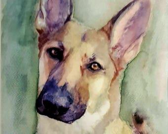 "Custom Watercolor Dog Portrait 8""x10"""