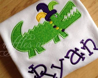 Mardi Gras Shirts - Alligator, beads, applique personalized shirts - Green, yellow, purple, gold - shirts for boys, girl, baby, toddler kids