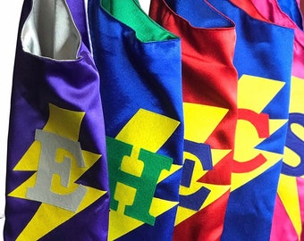 Personalized Super Hero Cape with Lightning Bolt and Child's Initial