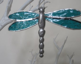 Dragonfly Stained Glass Suncatcher with pewter body and glass wings, Hanging Dragonfly, Dragonfly Suncatcher, Coloured Dragonfly
