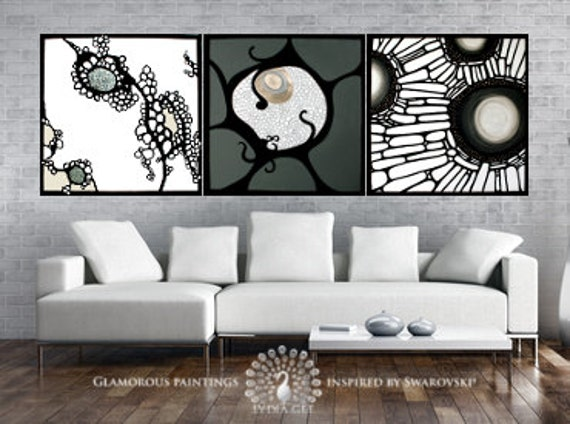 Contemporary art with Swarovski® crystals. Large contemporary wall art. Large contemporary paintings. Contemporary painting trio. Lydia Gee.